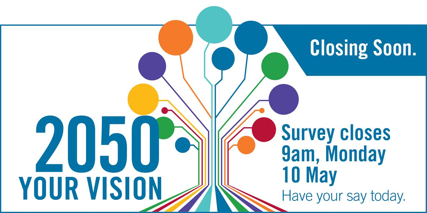 2050 Your Vision. Survey closes 9am, Monday 10 May
