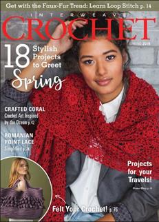 This is the cover image for Interweave Crochet spring 2019. The image is of a model wearing a large red crocheted wrap which is predominately round lacework motifs.