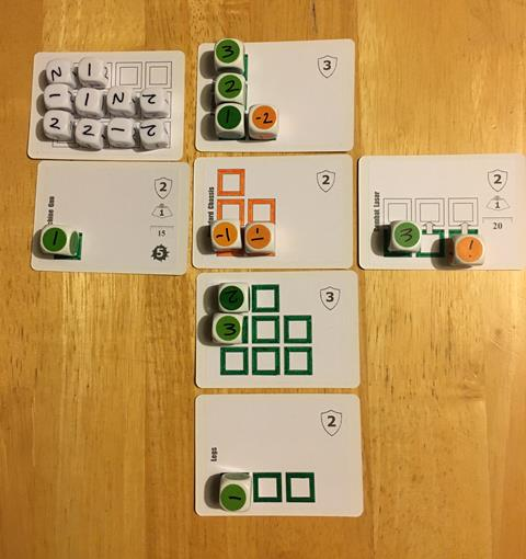 Cards set out mid-game