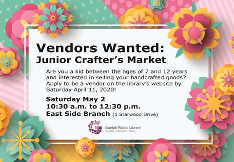 Apply to be a vendor in our Junior Crafter' Markt on Saturday May 2 at our East Side Branch.