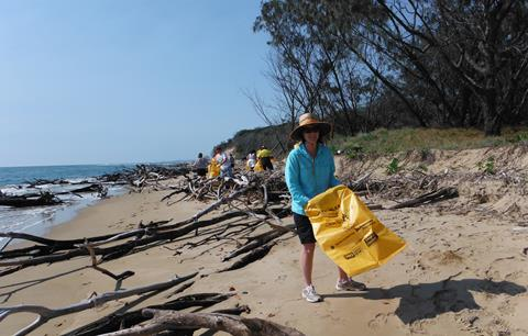 Volunteers collecting rubbish on beach