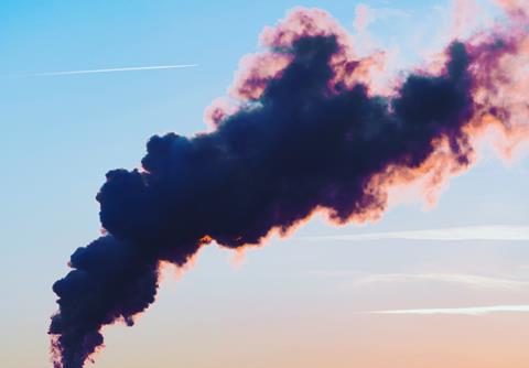 Dark smoke in the sky