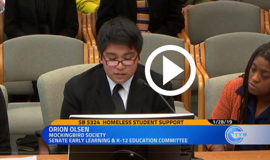 Orion Olsen testimony for Homeless Student Support bill