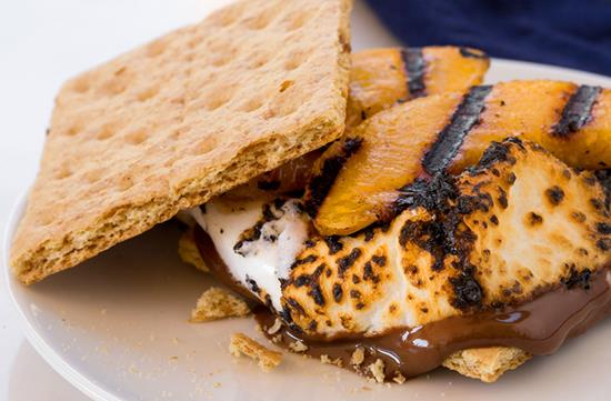 Grilled peach-topped s'mores