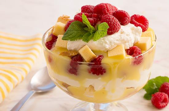 Raspberry lemon curd trifle