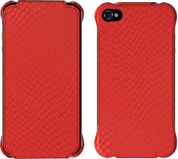 Overstocks of red leather iPhone flip case