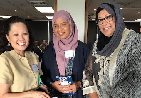 Left to right - Wen Powles, Mrs Munira Khanum and Mrs Ann Pala