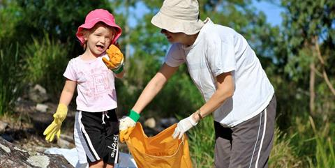 Clean Up Australia Day photo of mother and daughter collecting rubbish