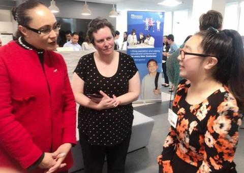 Hon Jenny Salesa, Minister for Ethnic Communities and Associate Minister for Education (Left) with Cathleen Wang (Right) Year 10 student from Burnside High School