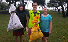 Group with clean up bags