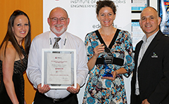 Photo of Council staff receiving Engineering Award for the Benaraby Landfill Gas Project