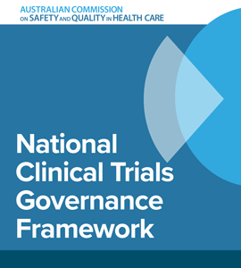 Report cover image with words: National Clinical Trials Governance Framework