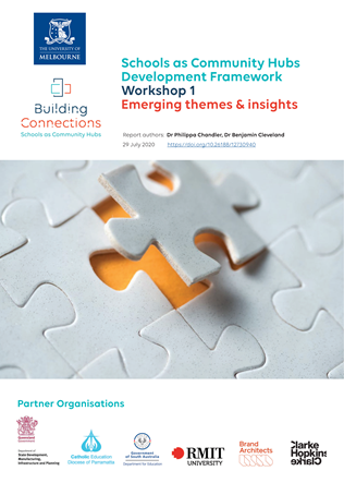 Cover of the report - Schools as Community Hubs Development Framework Workshop 1 Emerging themes & insights