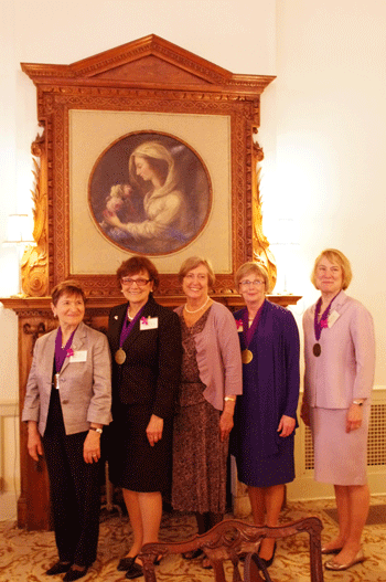 (left to right) Mary Ann Sestili, PhD, Stella L. Smetanka, JD, Dr. Mary Hines, The Honorable Margaret A. Manga, and M. Monica O'Keefe.