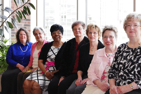 (left to right) Andrea Beranek, PhD, Nieves Stiker, Emma T. Lucas-Darby, PhD, Martha Legates, PhD Joyce McDermott, Carol Caliendo, ND, and Anne Marie Emanuel, MSN, MA.
