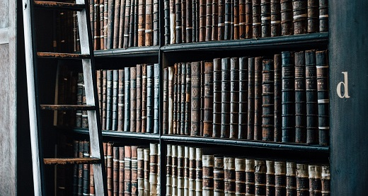 Leatherbound volumes on library shelves