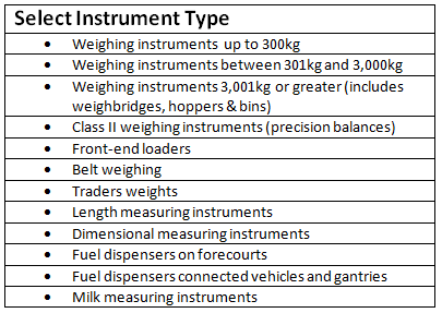 Select instrument type