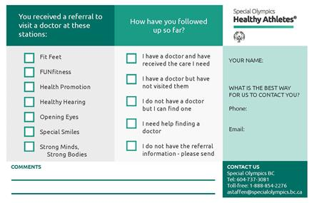 Special Olympics BC health screening followup cards