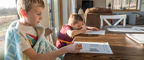 Two children studying at home