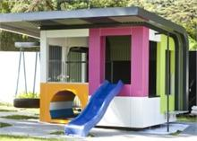 A multi-coloured cubby house