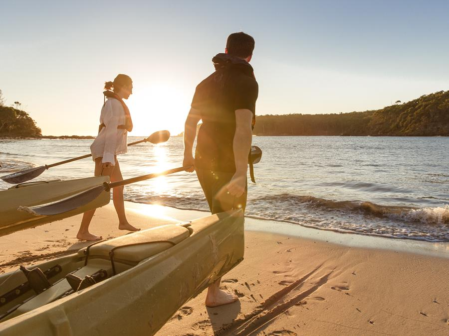 Couple Kayaking South Coast New South Wales