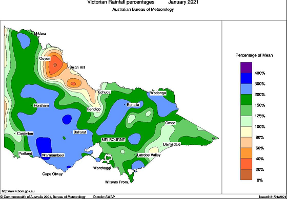 January rainfall % of mean for Victoria. Rainfall ranges are above 100 per cent in the wimmera and North East hills.