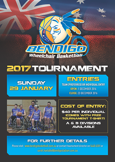Poster promoting the Bendigo wheelchair basketball tournament