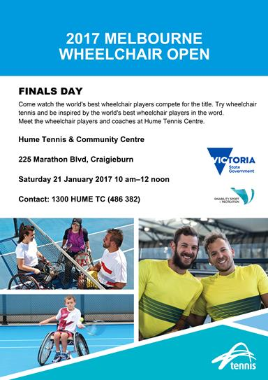 Poster advertising 2017 wheelchair tennis finals at Hume