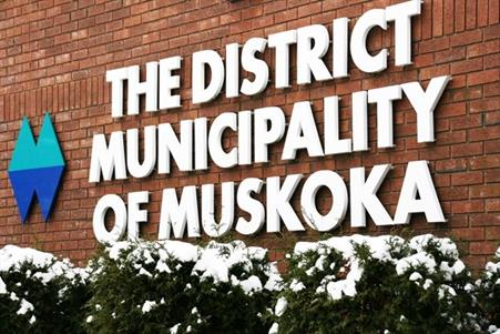 Picture of District Municipality of Muskoka sign in winter
