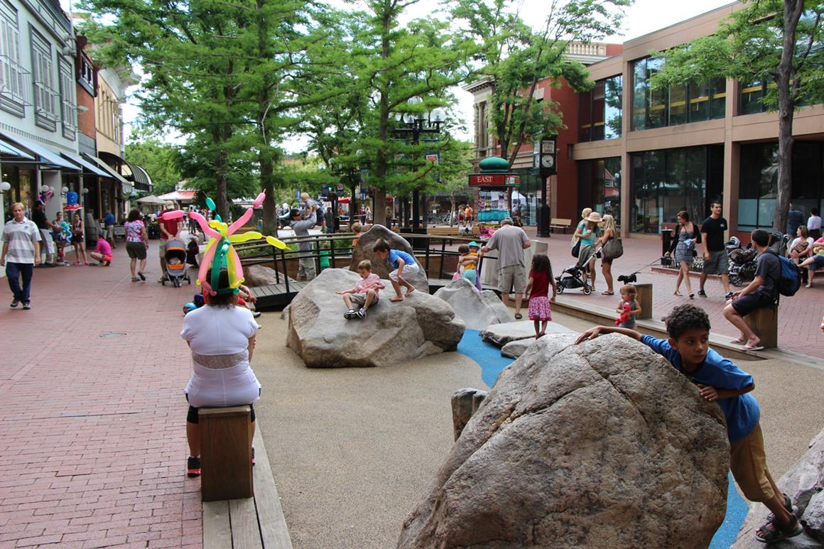 Public park full of people