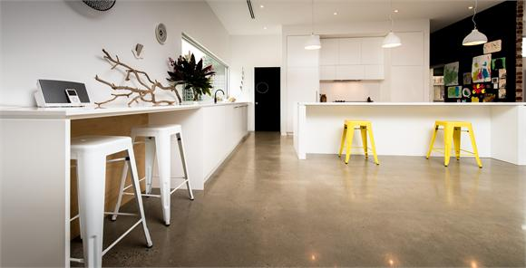 kitchen building extension with polished concrete