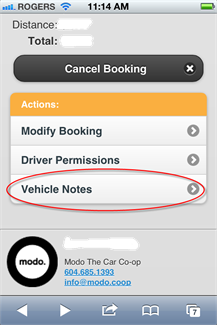 the Vehicle Notes tab can be viewed through a current booking on our mobile site