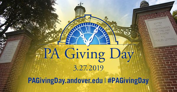 Abbot campus gates with PA Giving Day logo