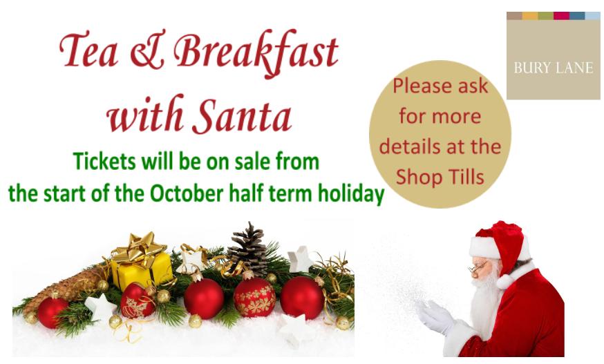 Bury Lane Farm Shop Tea & Breakfast with Santa Tickets on Sale from start of October Half term 2018
