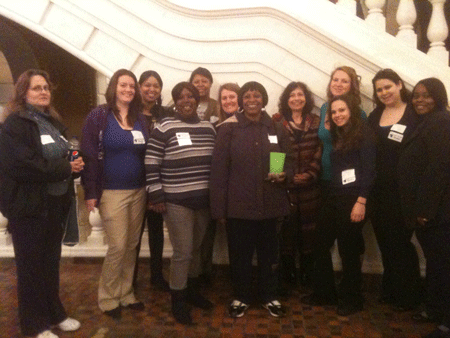 Carlow social work students and faculty in the Capitol building in Harrisburg. Back row: Kerry Paustenbach, Christine Schirra, Yvonne Griffin, Deborah McCarthy, Dr. Roth, Dr. Frank, Heather Kaseroski, Alexa Aragona, Danah Richter, and Darlene Hart. Front row: Everlena Isaiah and Alyce Moore.