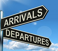 arrivals and departures road sign