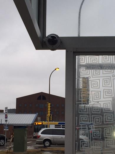 Photo of a security camera in a shelter