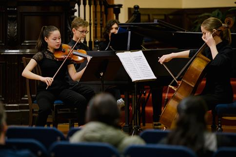 YMP performers on Cello, Violin and Piano