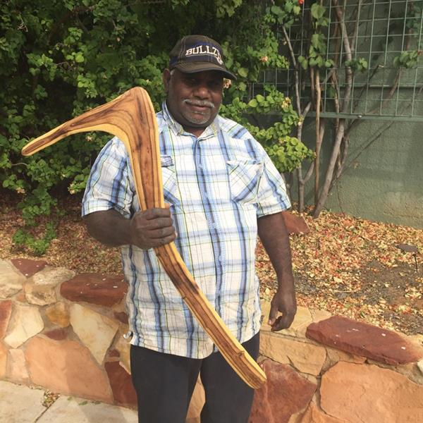 Justin Allen with one of his beautifully carved kulis