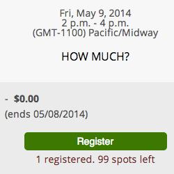 Events Registration Screenshot