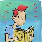 cartoon student reading a book
