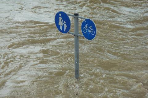 Flooding around street signs