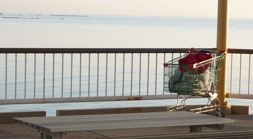 Shopping trolley on pier