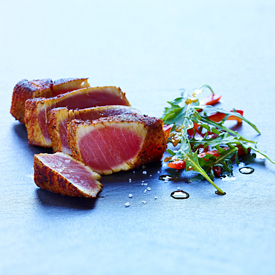 Spiced Tuna with Arugula & Bell Pepper Salad Recipe