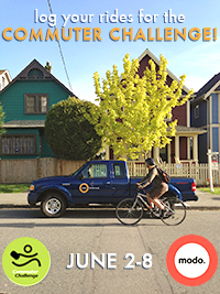 Log your rides for the Commuter Challenge, sponsored by Modo!