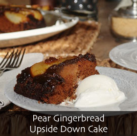 Pear Gingerbread Upside Down Cake