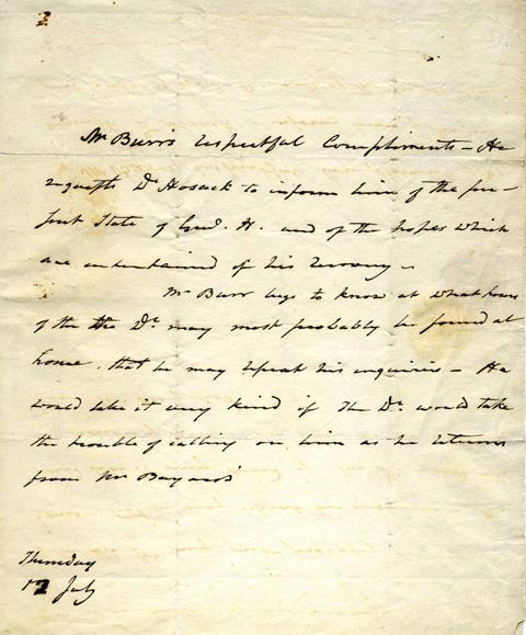 A Letter: Aaron Burr Inquires after Alexander Hamilton Following Their Duel, 1804