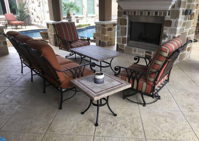 Stamped concrete outdoor patio