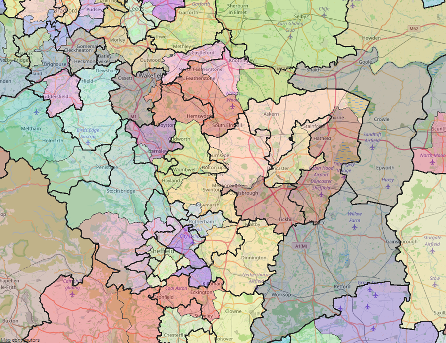 Laying the proposed constituencies over existing constituencies shows the changes.