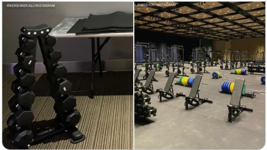 Side by side image of the women's bubble weight room and the men's